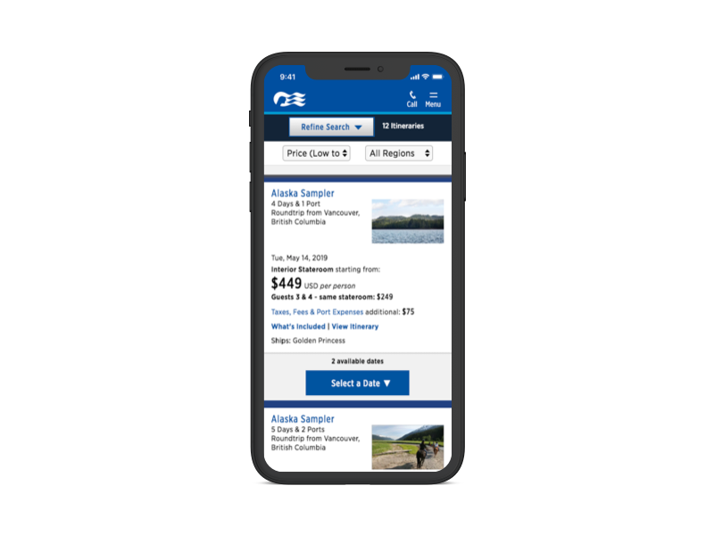 Image of Princess Cruises page mocked up on a phone